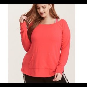 Torrid Active Coral Off Shoulder Pullover - 3